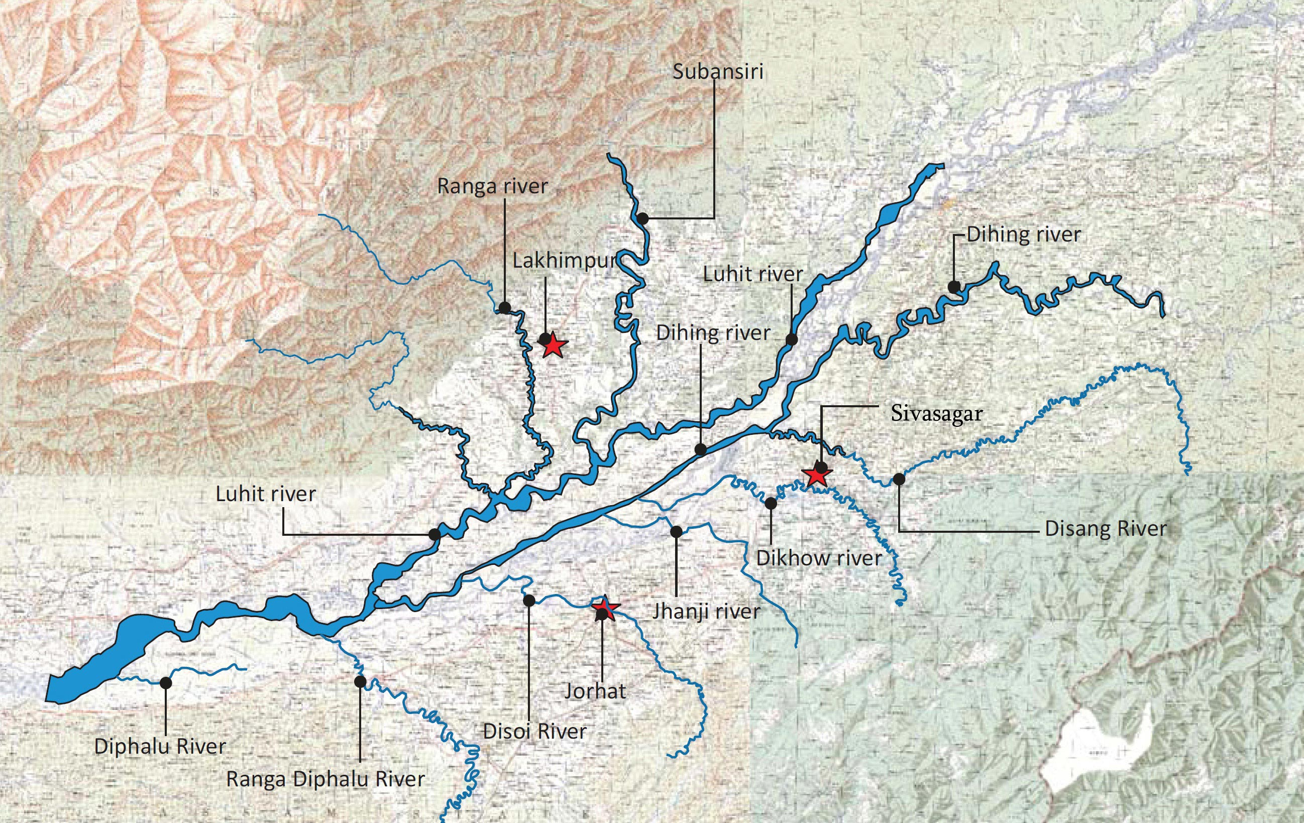 Image result for brahmputra tributaries